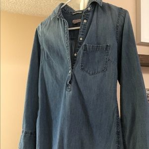 Denim button down long sleeve top.